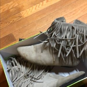 Sam Elderman   Fringe suede booties.  10. Taupe